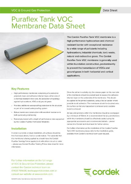 Cordek Puraflex Tank VOC Membrane Data Sheet