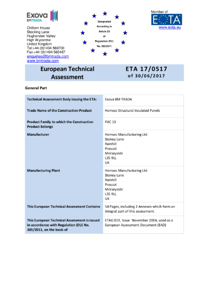 Hemsec SIPs ETA Certificate - European Technical Assessment - ETA 17/0517