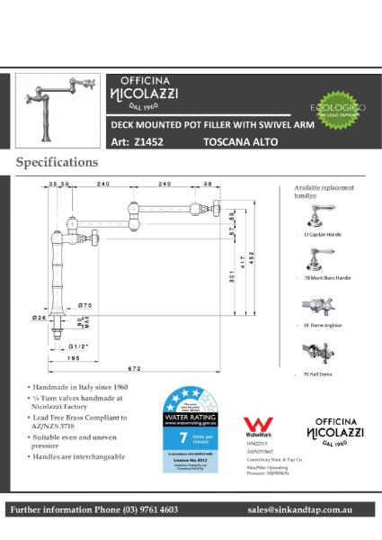 Z1452 Toscana Alto technical