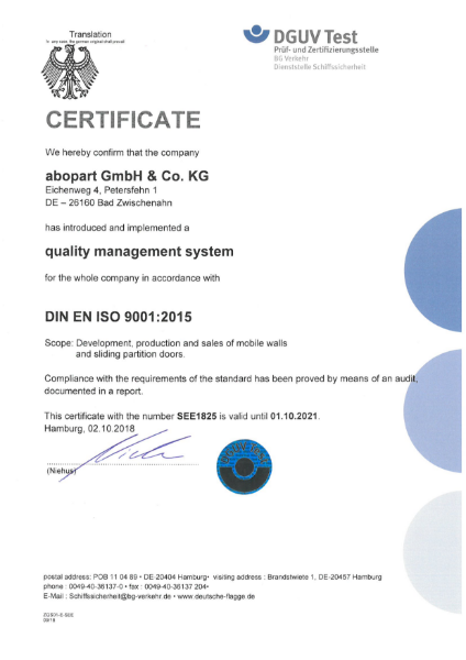 Abopart factory ISO 9001 certificate