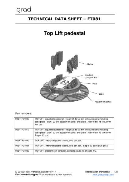 Grad Pedestal Technical Data Sheet