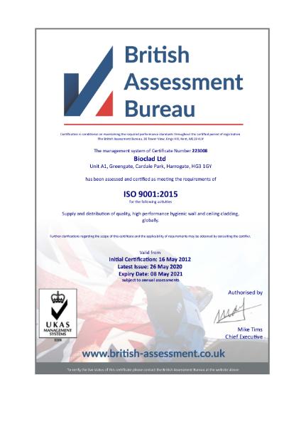 BioClad 9001 Certificate