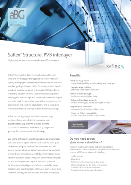 Saflex Structural Product Bulletin