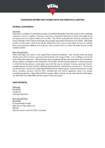 Technical Digest - Comparison Between Keim Mineral Paints & Limewash
