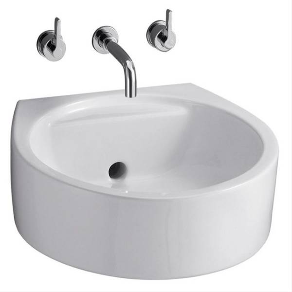 White Round 45cm Back Outlet Washbasin