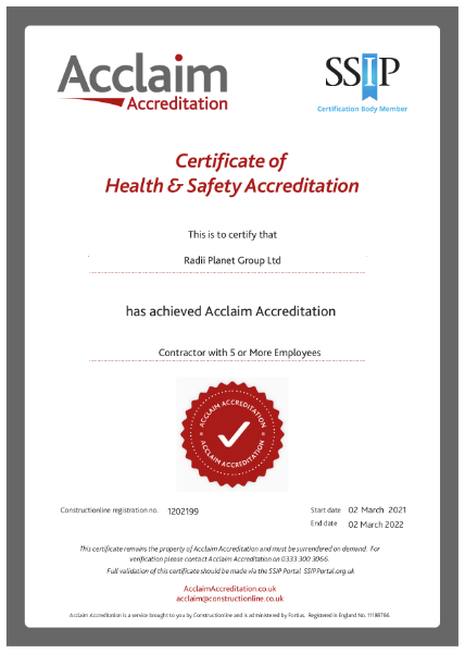 Acclaim Certificate of Health & Safety Accreditation