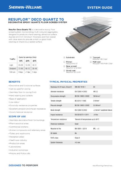 Resin flooring Resuflor Deco Quartz TG screed system