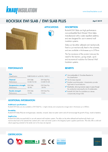 Rocksilk EWI Slab and Rocksilk EWI Slab Plus Data Sheet