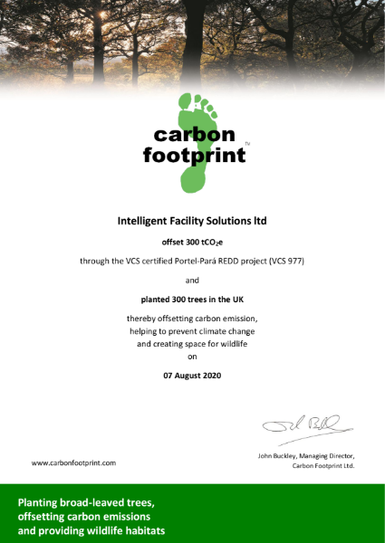 August 2020 Offset Certificate - Intelligent Facility Solutions