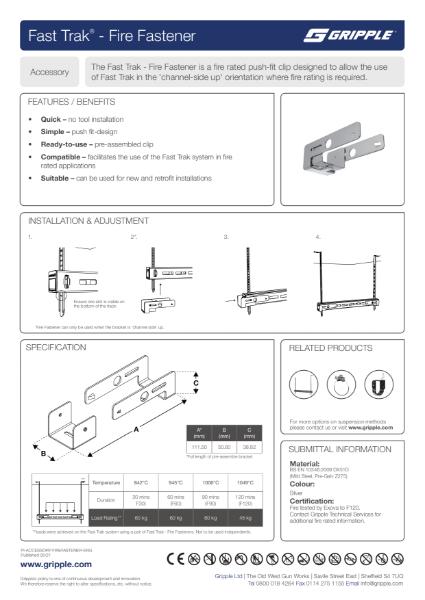 Fast Trak Fire Fastener PI Sheet