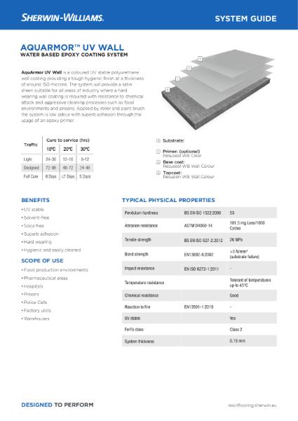 Resin flooring AquArmor UV Wall coating system