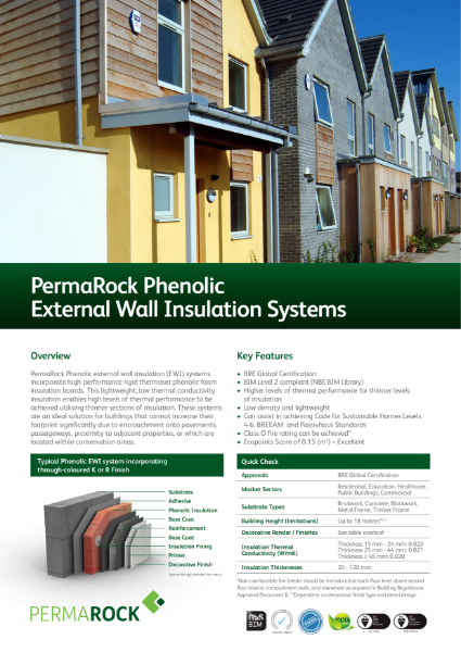 PermaRock Phenolic External Wall Insulation Systems (lightweight, low thermal conductivity insulation systems)