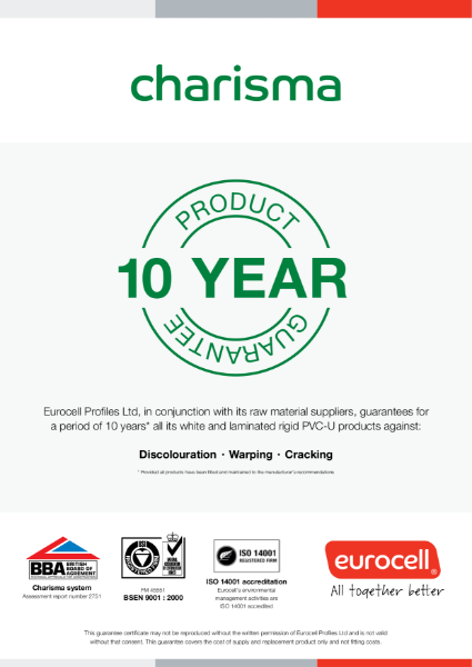 Charisma Vertical Slider Windows 10 Year Product Guarantee Certificate