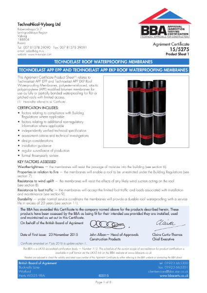 15/5275_1 TECHNOELAST APP EPP AND TECHNOELAST APP EKP ROOF WATERPROOFING MEMBRANES