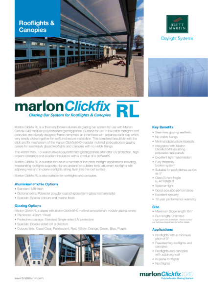 Glazing Bar System for Rooflights & Canopies - Marlon Clickfix RL