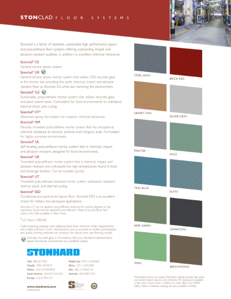 Stonclad Resin Flooring System Colour Sheet