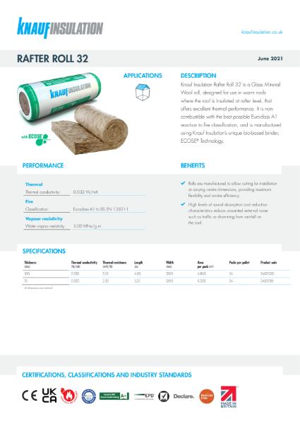 Knauf Insulation Rafter Roll Insulation Data Sheet