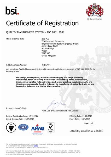 ISO 9001:2008 Certificate (Appley Bridge)