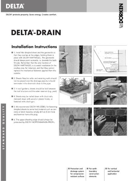 Delta-Drain installation instructions