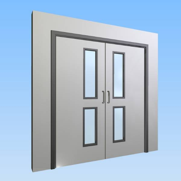 CS Acrovyn® Impact Resistant Doorset - Double with type VP4 Vision Panels