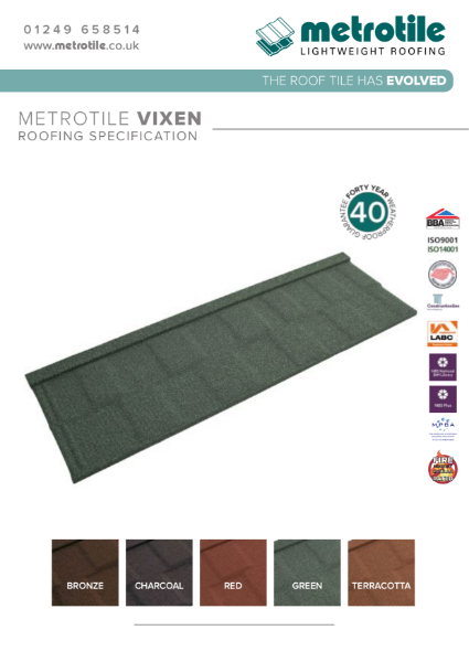 Metrotile Vixen Roof System Example Specification