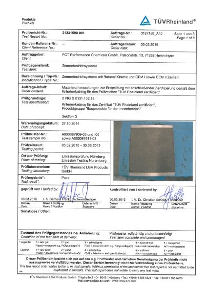 TUV (Rheinland) Health and Safety Certification for Retanol
