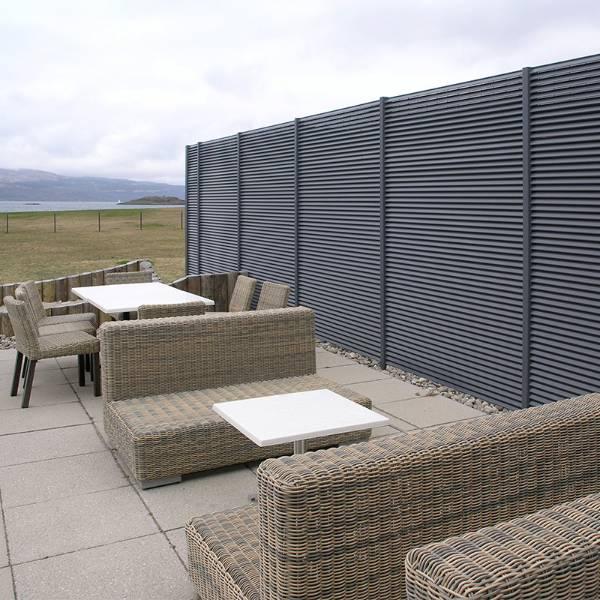 Portavadie Marina Resort: A 2.5m high screen of Italia-100 panels was installed to provide 100% visual screening.