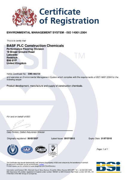 ISO 14001:2004 Certificate (Redditch)