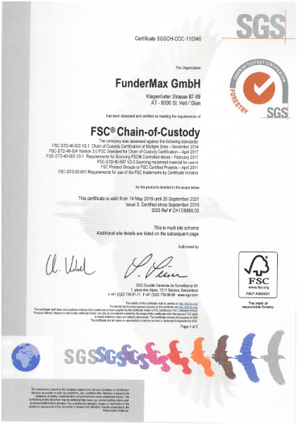 FSC Certificate FunderMax | Fibreboards, Homogen, Star Favorit, HPL, Compact