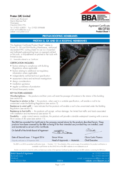 BBA Agrement Certificate 00-3755 for Protan G, GX and EXA Roofing Membranes
