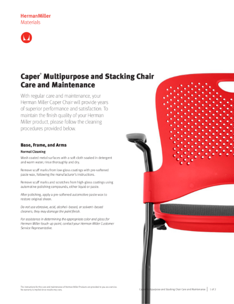 Caper Multipurpose Chair - Care and Maintenance