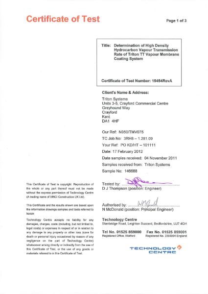 Triton TT Vapour Membrane Coating - Test Certificate