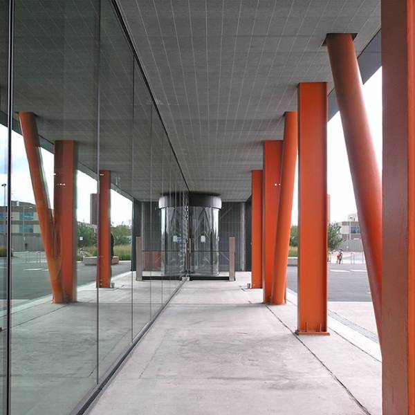 Ceiling Panels made from Galvanized Grating complete Contemporary Palette to create Stunning Facade