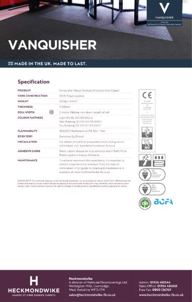 Specification Sheet - Vanquisher Entrance & Transition Area Carpets