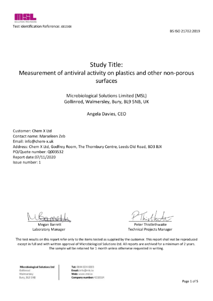 SteriCoat™ WB20 Lab Report: ISO 21702:2019 Measurement of Coronavirus (Munich Strain) activity on plastics and other non-porous surfaces
