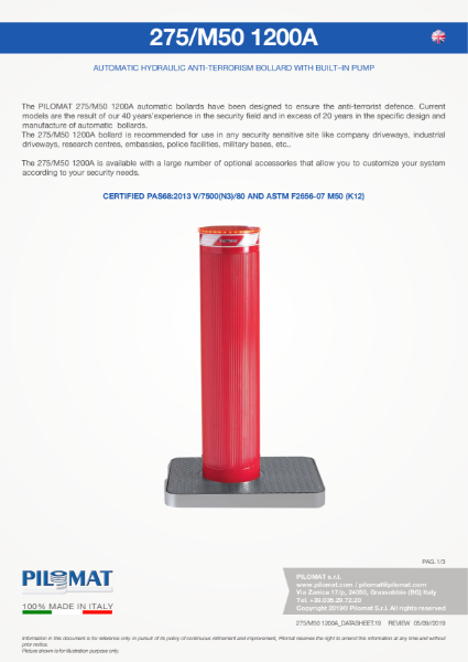 Macs M50 HVM Automatic Bollard Data Sheet