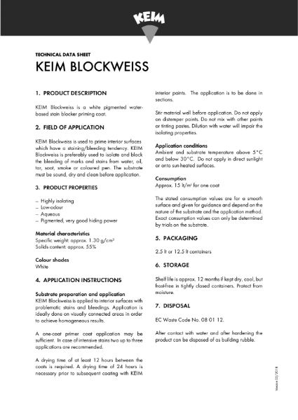 Keim Blockweiss Technical Data Sheet