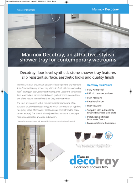 Marmox Decotray Shower Tray
