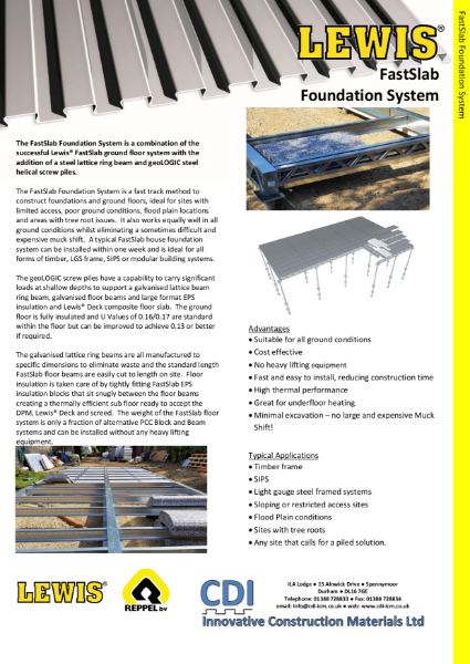 FastSlab Foundation System. Screw Pile, ring-beam and insulated ground floors for fast, lightweight builds in timber frame, light gauge steel and SIPs