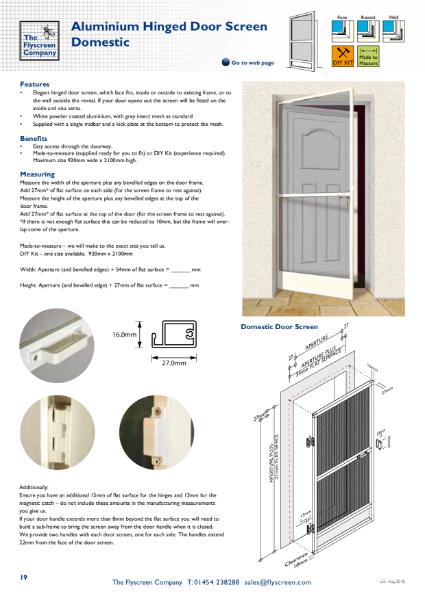 Aluminium Hinged Door Screen - Domestic