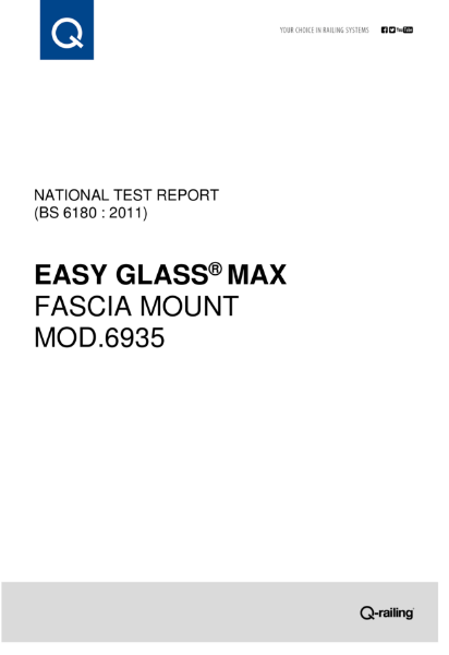 BS 6180 Test report Q-railing Easy Glass Max, fascia mount