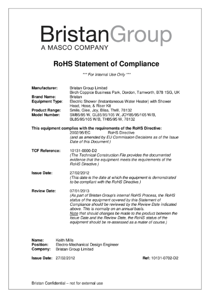 RoHS Statement of Compliance
