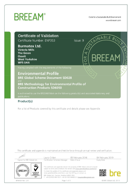 BRE Global Listed: Certificate ENP 353