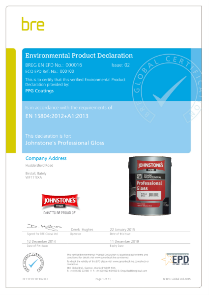 Environmental Product Declaration (EPD) : BREG EN EPD No.: 000016