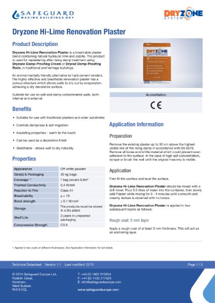 Dryzone Hi-Lime Renovation Plaster Data Sheet