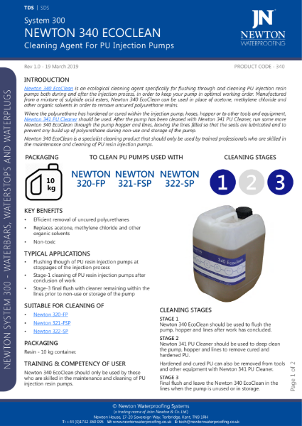Newton 340 EcoClean Data Sheet