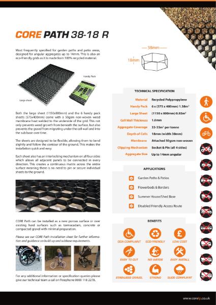CORE PATH 38 18 R Grey Gravel Stabiliser Specification Sheet