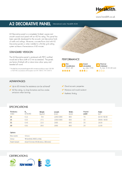 Technical Datasheet A2 Decorative Panel