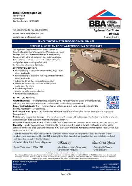 RENOLIT ALKORPLAN ROOF WATERPROOFING MEMBRANES BBA certificate 10/4808