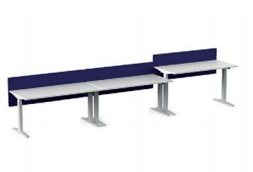 Ratio Sit-Stand - Three Person Side-by-Side Desk with Screen